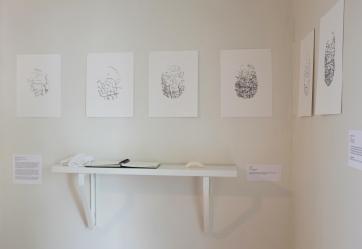 Huellas / Fingerprints. Paulina Velázquez Solís. Digital drawing, book and soap. 2017.
